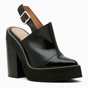 Jeffery Campbell Foyer Edgy Black Leather Heels